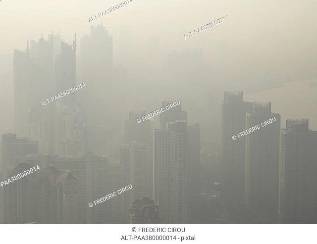 Cityscape in smog, Shanghai, China