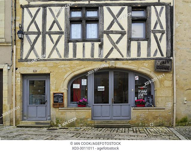 front of a restaurant, Saint-Macaire, Gironde Department, Aquitaine, France