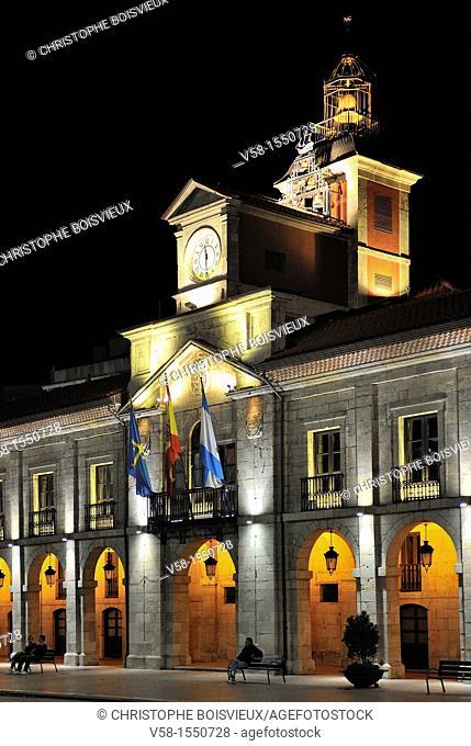 Spain, Asturias, Aviles, Plaza de Espana, The Cty Hall by night