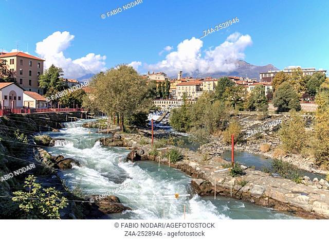 Dora Baltea River and Ivrea cityscape in Piedmont, Italy