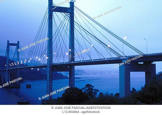 Rande bridge over ria of Vigo. Pontevedra province, Galicia, Spain