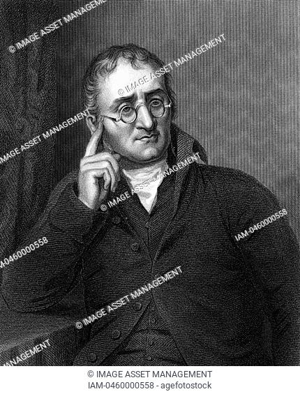 John Dalton 1766-1844 English chemist  In 1794 described colour blindness Daltonism from which both he and his brother suffered  Atomic theory: Gases Engraving:
