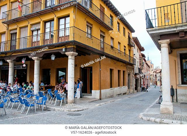 Street and Main Square. Tordesillas, Valladolid province, Castilla Leon, Spain