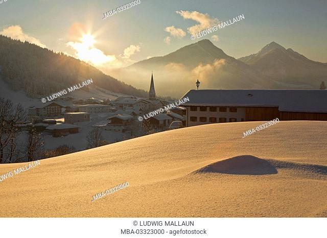 Austria, Tyrol, Thiersee, local overview, winter, evening mood