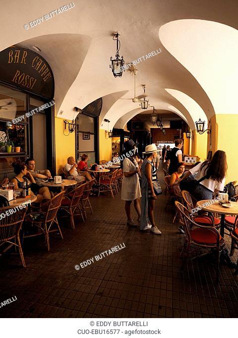 Traditional coffe bar in Via Roma arcade, Historic city center, Bellagio, Como Lake, Lombardy, Italy, Europe