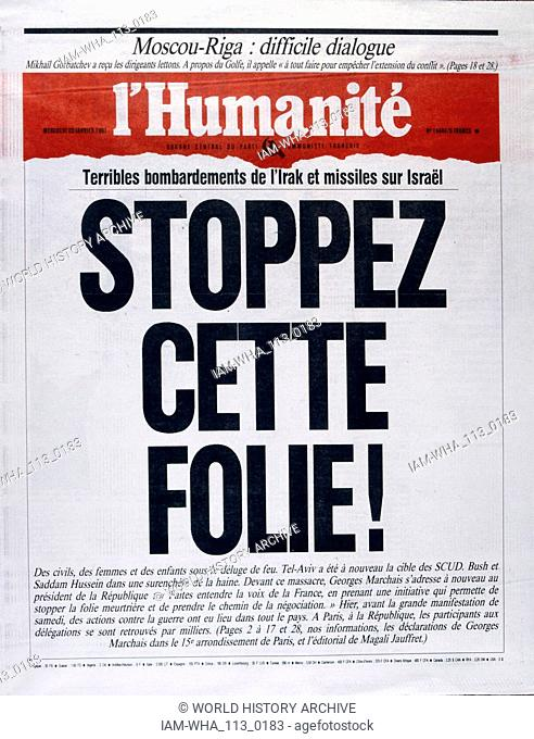 Headline in 'l'Humanite' a French newspaper, 23rd January 1991, concerning a missile attack on Israel during the Gulf War (2 August 1990 - 28 February 1991)