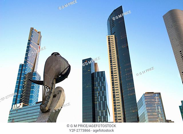 Southbank skyline, Melbourne, with part of Constellation sculpture by (by Bartlett and Armstrong)