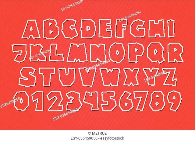 set of white paper labels, stylish alphabet letters and numbers isolated on red background. vector, 3d style font type design