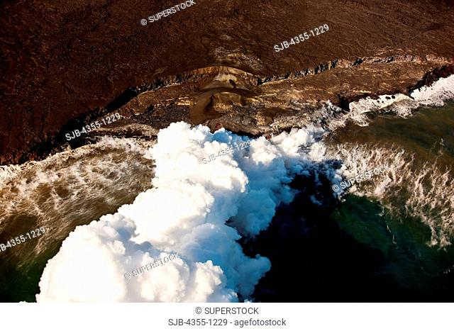 Steam Plume as Volcano Meets Sea