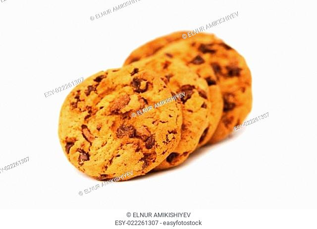 Chocolate cookies isolated on the white background