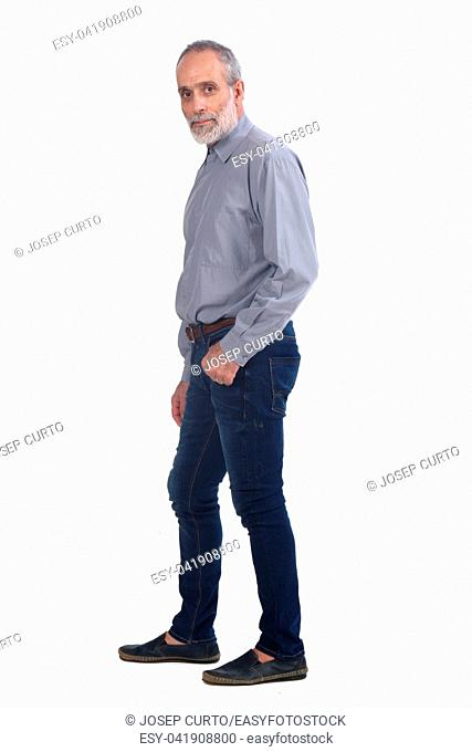 middle-aged man with blue jeans and shirt on white background