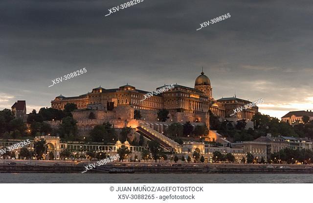 Buda castle at sundown. Budapest Hungary