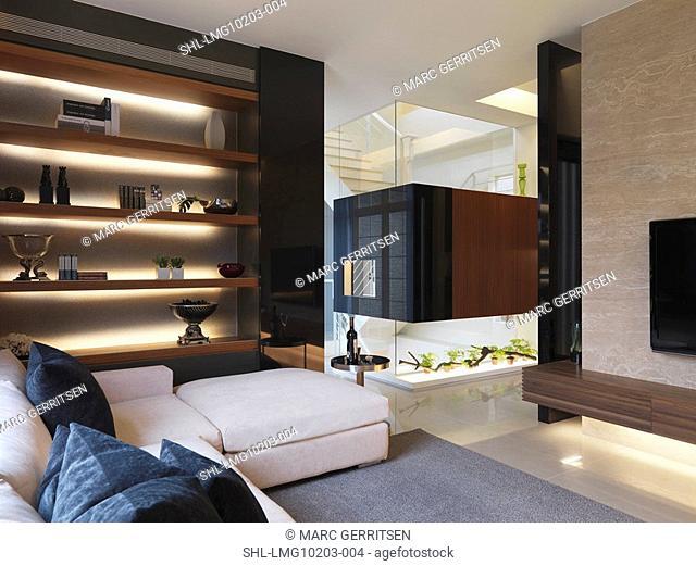 Bookshelf built in above sofa in modern home
