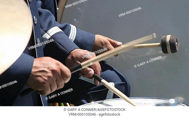 Military drummer close-up, memorial day, Los Angeles CA, USA
