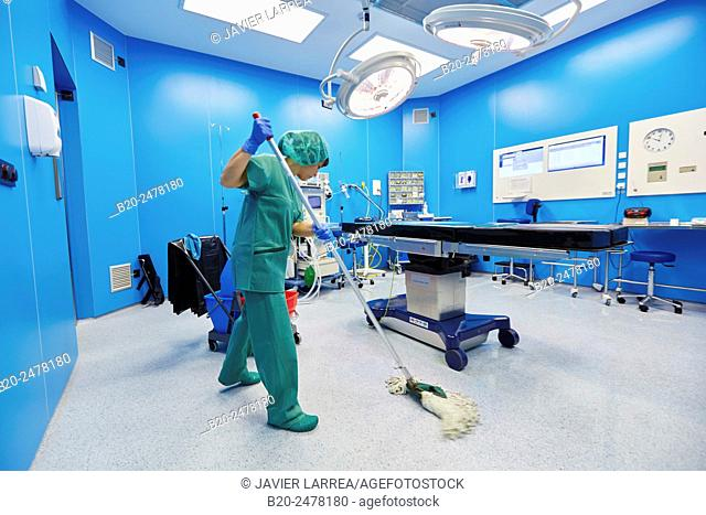 Operating room cleaning, Ambulatory Surgery, Hospital Donostia, San Sebastian, Gipuzkoa, Basque Country, Spain