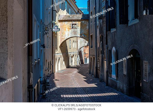 Brunico, South Tyrol, Italy. The Hintergasse/Vicolo Posteriore