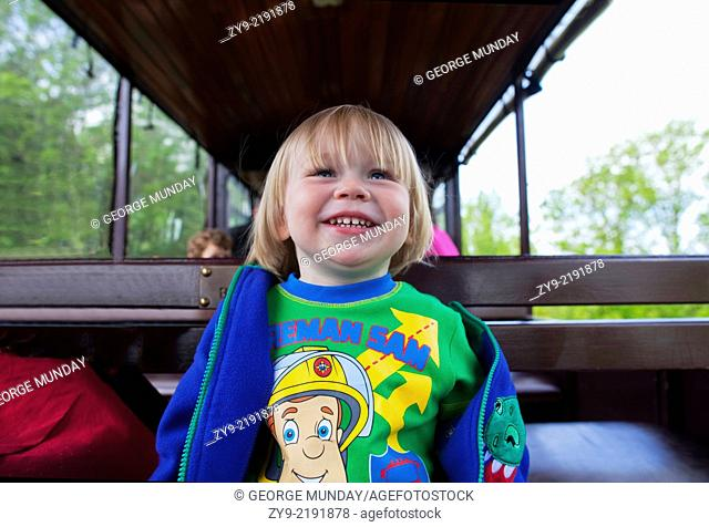 Young Boy enjoying a ride on the Waterford and Suir Valley Railway,