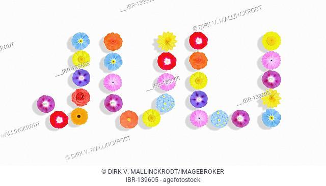 Word Juli written with flowers