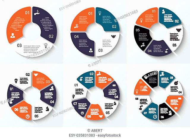 Vector circle element for infographic. Template for cycle diagram, graph, presentation and round chart. Business concept 3, 4, 5, 6, 7 and 8 with options, parts