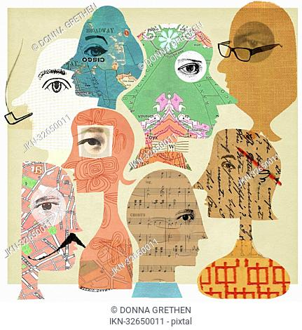 Collage of faces with patterns inside heads