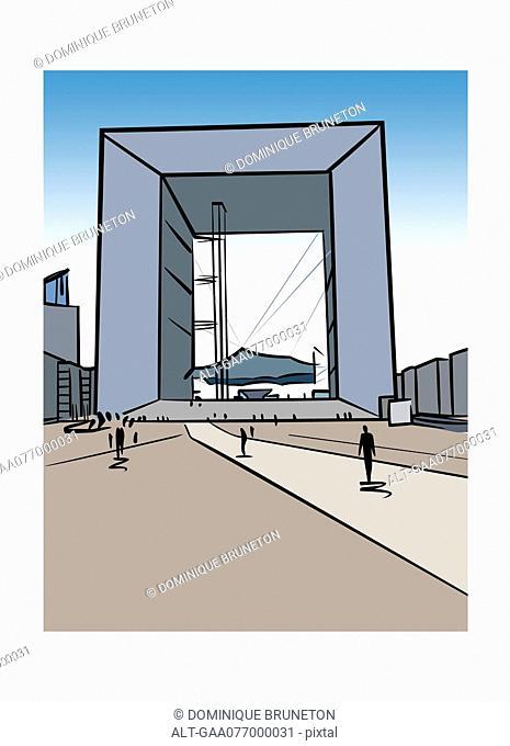 Illustration of La Grande Arche de la Défense in Paris, France