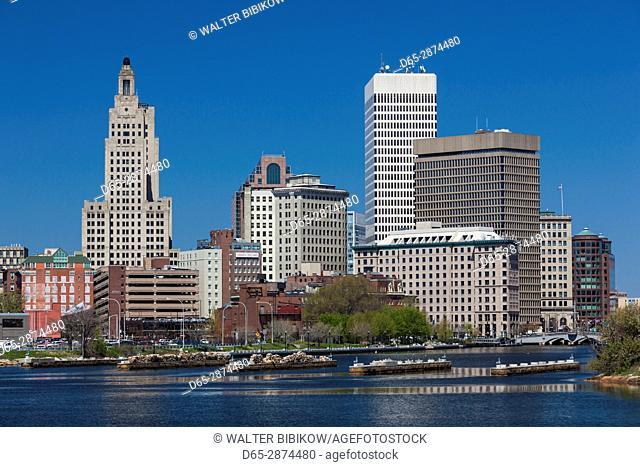 USA, Rhode Island, Providence, city skyline from the Providence River