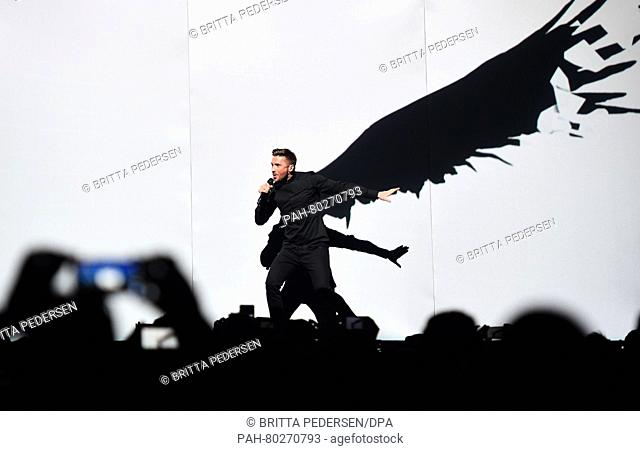 Russia's Sergey Lazarev performs the song 'You Are The Only One' during rehearsals for the first semifinal of the 61st annual Eurovision Song Contest (ESC) at...