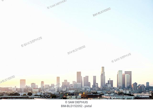 Los Angeles city skyline and clear sky, California, United States
