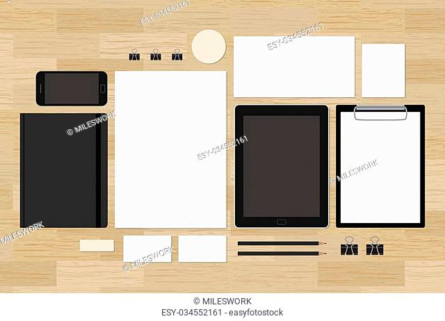 Blank mock-up for corporate brand identity design presentation. Tablet and mobile phone with A4 and A5 notepad. Envelope and business cards