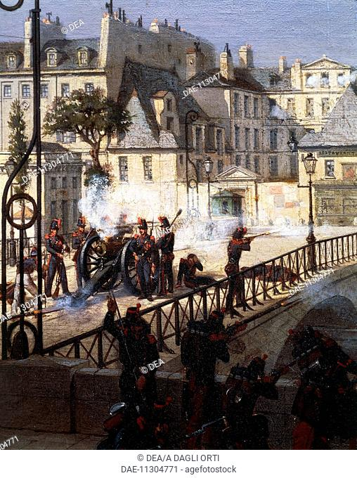 Riot at the bridge of the Archbishop in Paris during the revolution of 1848, painting by Philippe Chaperon (1823-1907). France, 19th century