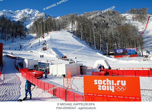 A view of the finish area for the Alpine Skiing events in Rosa Khutor near Sochi, Russia, 03 February 2014. The Olympic Winter Games 2014 in Sochi run from 07...