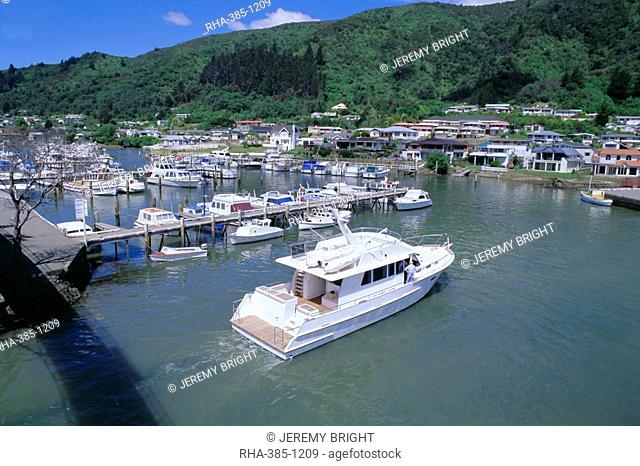 Yacht entering Picton Marina, Picton, Marlborough, South Island, New Zealand, Pacific