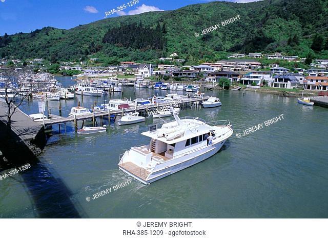 Yacht entering Picton Marina, Picton, Marlborough, South Island, New Zealand, Pacific