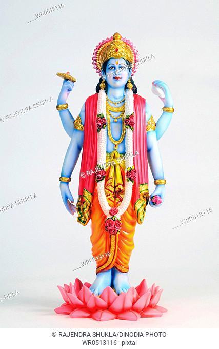 Statue of lord vishnu standing on lotus , India
