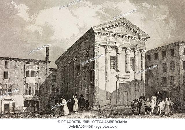 Temple of Augustus and Livia, Vienne, France, engraving by Lemaitre from France, premiere partie, L'Univers pittoresque, published by Firmin Didot Freres, Paris