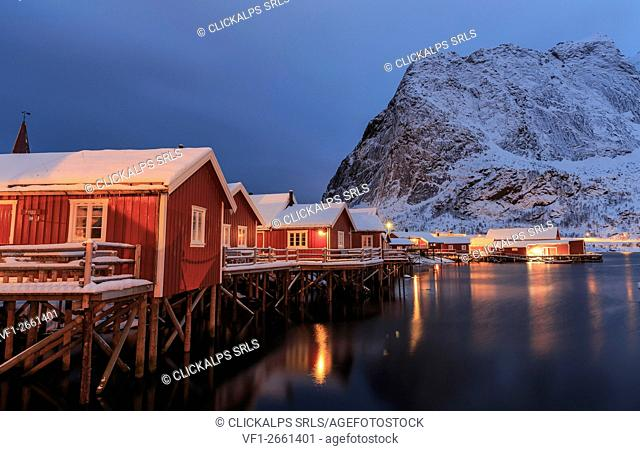 Typical homes of the fishermen of Reine fishing village, lofoten Islands, Norway