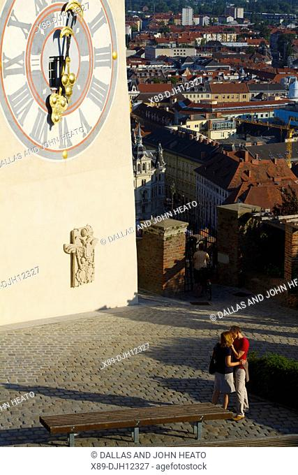 Austria, Styria, Graz, Schlossberg, Uhrturm Tower, Clock Tower, Old Town