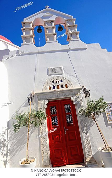 Entrance to church in Mykonos, Greek Islands, Greece, travel