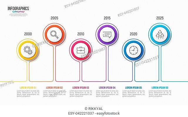 Vector 6 steps infographic design, timeline chart, presentation template on white background. Global swatches