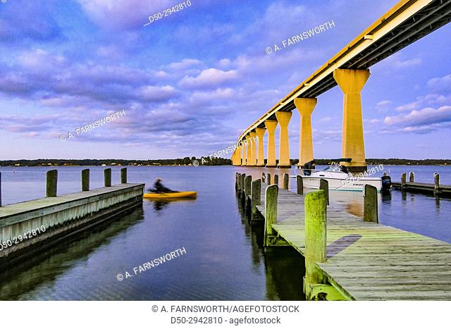 SOLOMONS ISLAND, MARYLAND Bridge over Patuxent river. Boat launch