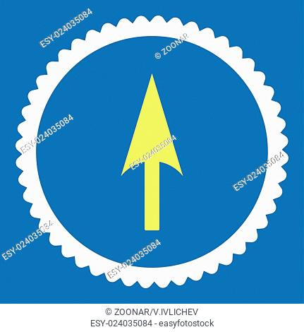 Arrow Axis Y flat yellow and white colors round stamp icon