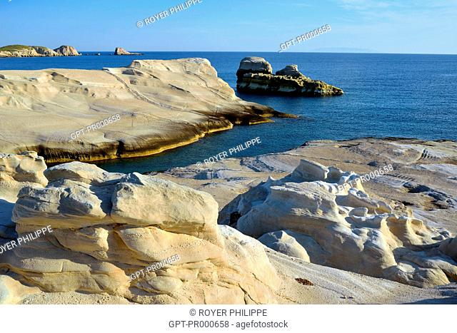 THE AMAZING MINERAL LANDSCAPE OF SARAKINIKO NEAR ADAMAS ON THE ISLAND OF MILOS, CYCLADES, GREECE