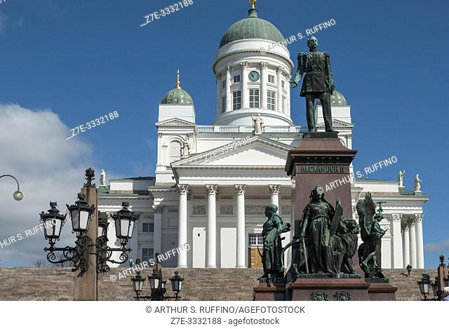 Statue of Alexander II in front of Helsinki Cathedral, Senate Square. Helsinki, Finland, Europe