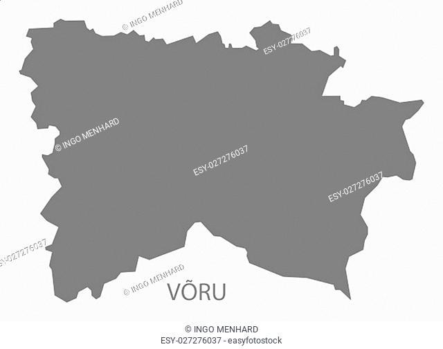 Voru Estonia Map in grey