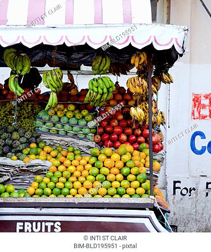 Fresh fruit on urban street cart