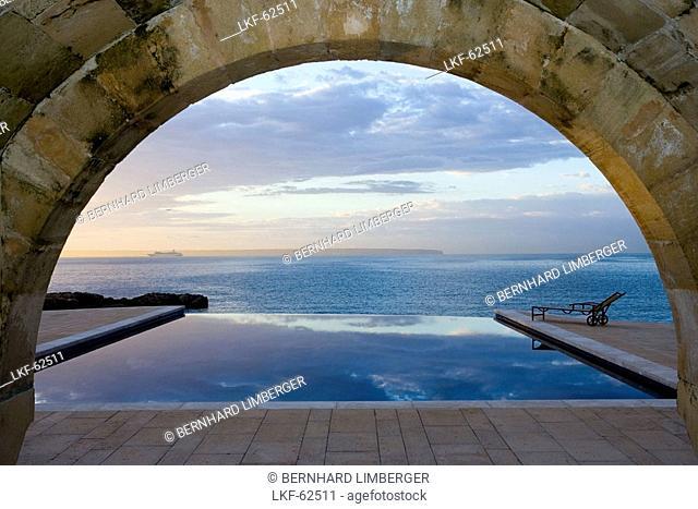 Hotel Maricel and swimming pool at sunrise, Palma, Majorca, Spain