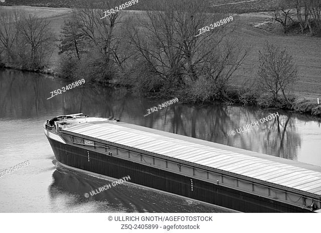 Inland waterway craft, Neckar river near Lauffen, Germany