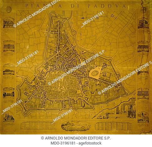 Map of Padua, by Giovanni Valle, 1779-1784, 18th Century, engraving
