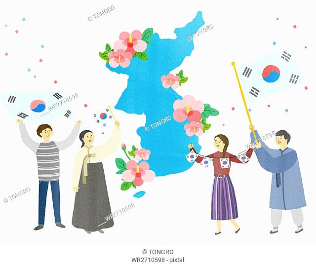 Illustration representing Korean National Liberation Day