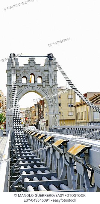 Detail of the suspension bridge of Amposta, Tarragona, Catalunya, Spain